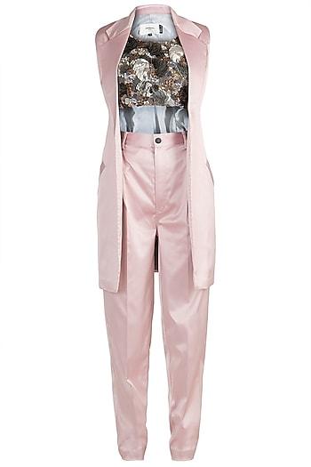 Pink Embroidered Blazer Set by PARNIKA