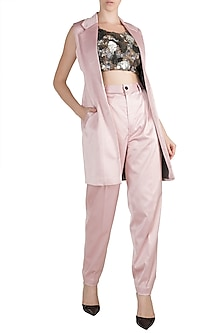 Pink Embroidered Blazer Set by PARNIKA