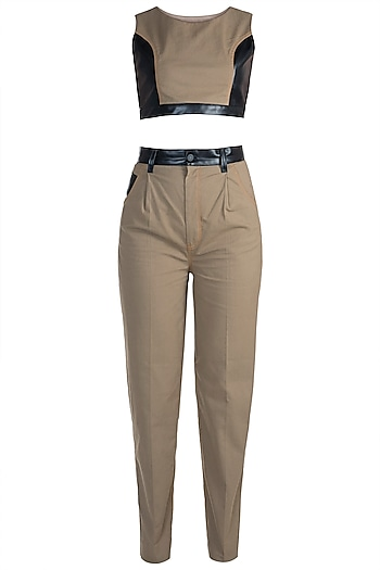 Brown Crop Top With Pants by PARNIKA