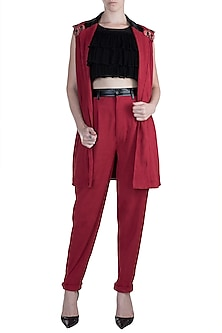 Red Jacket With Crop Top & Pants by PARNIKA