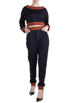 Navy Blue Knitted Sweatshirt With Pants by PARNIKA