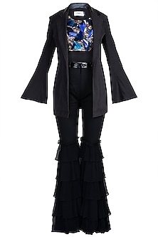 Black Embroidered Blazer Set by PARNIKA