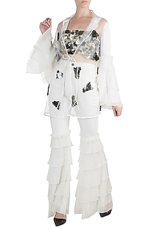 White Embroidered Jacket With Crop Top & Pants by PARNIKA