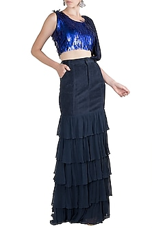 Blue Embroidered Top With Skirt & Attached Drape by PARNIKA
