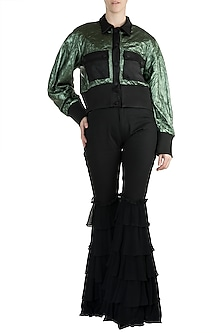 Green Metallic Bomber Jacket by PARNIKA