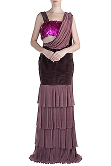 Violet Embroidered Top With Skirt by PARNIKA