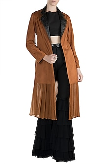 Brown Suede Jacket by PARNIKA