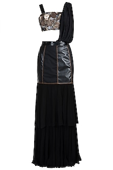 Black Embroidered Draped Saree Set by PARNIKA
