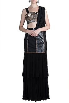 Black Embroidered Draped Saree Set by PARNIKA