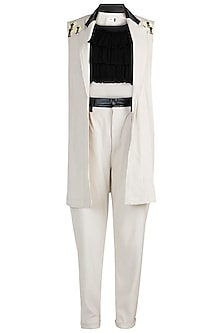Off White Jacket With Crop Top & Pants by PARNIKA