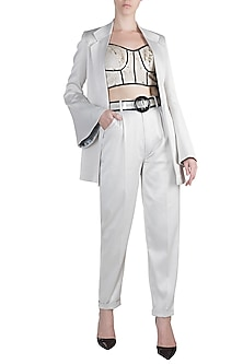Silver Jacket With Pants & Sequins Corset Top by PARNIKA