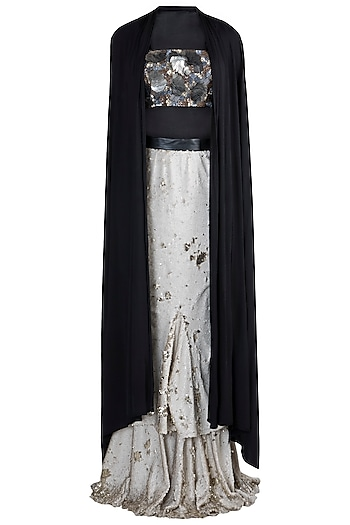 Silver Skirt With Embroidered Crop Top & Cape by PARNIKA
