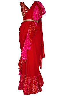 Red Embroidered Bandhani Pre-Stitched Saree Set With Belt by A projeKt by Asmita kala