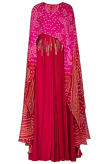 Red Embellished Gown With Attached Bandhani Cape by A projeKt by Asmita kala