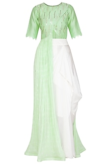 Green Embellished Gown With White Draped Skirt by A projeKt by Asmita kala