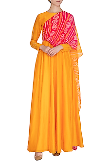Yellow Embellished Gown With Attached Bandhni Dupatta by A projeKt by Asmita kala