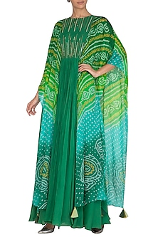 Green Embellished Gown With Attached Bandhani Cape by A projeKt by Asmita kala