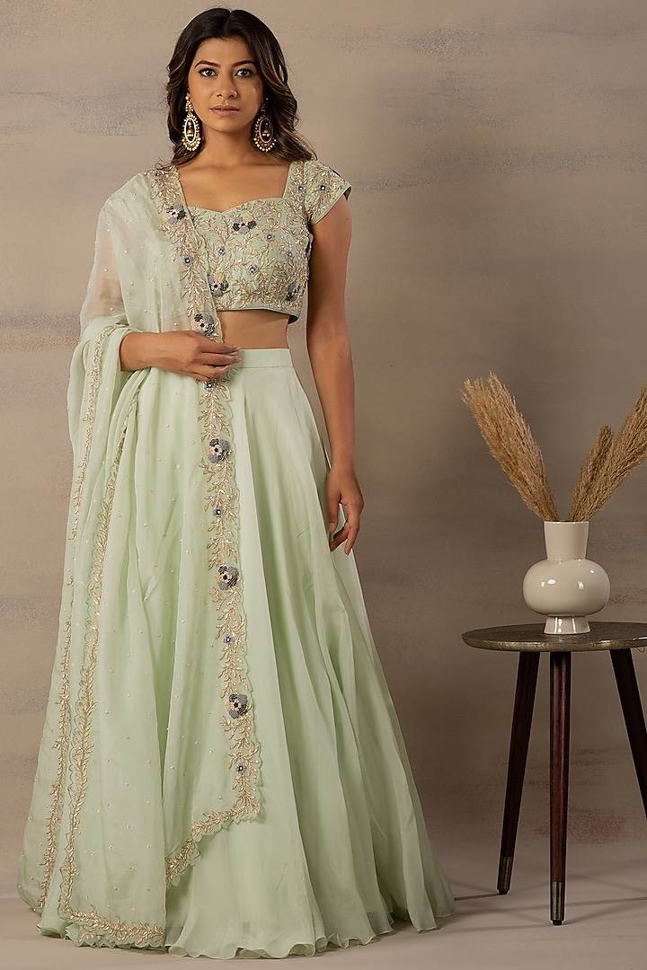 Mint Green Thread Embroidered Lehenga Set by Anupraas by nishant & rahul