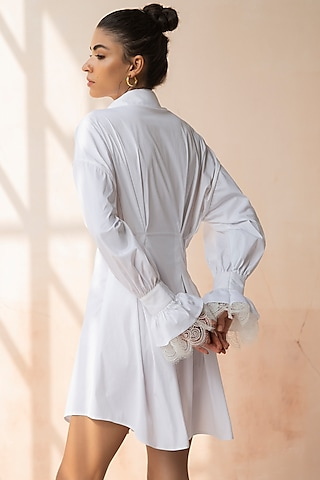 White Lace Shirt Dress With Slip by APZ