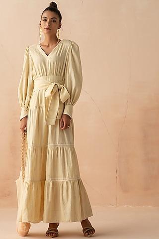 Sand Textured Linen Dress With Belt by APZ
