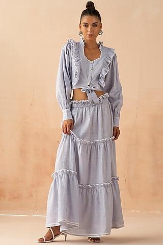 Powder Blue Ruffled Skirt Set by APZ