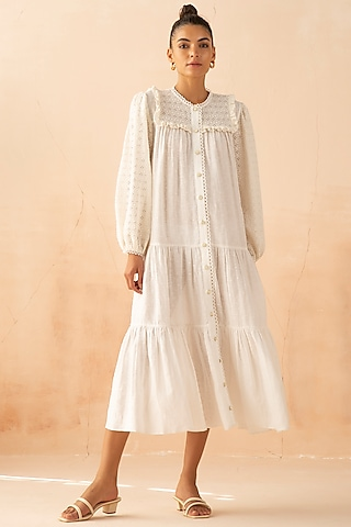 White Shirt Dress With Marble Buttons by APZ