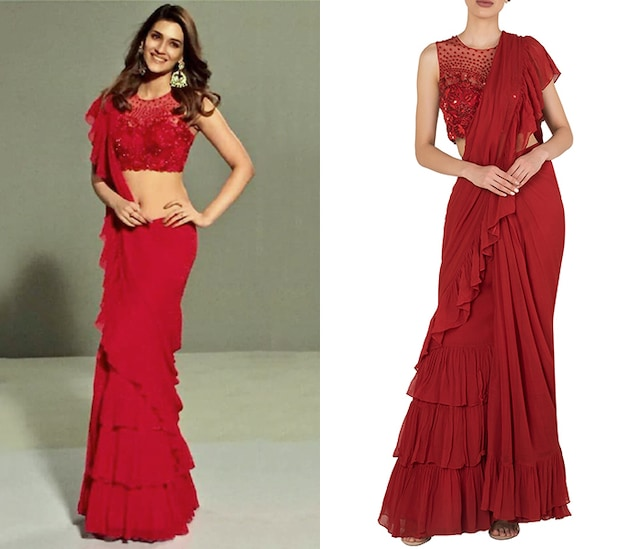 Red Pre-Stitched Ruffle Saree with Embroidered Blouse by Arpita Mehta
