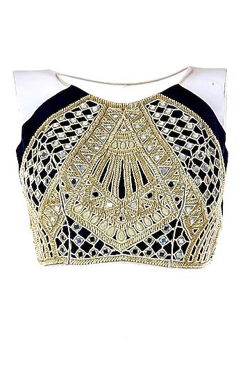 Black and gold raglan mirror crop choli by Arpita Mehta