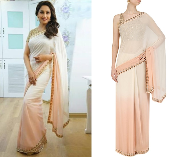 Rose Gold Ginko Blouse with Shaded Saree by Arpita Mehta