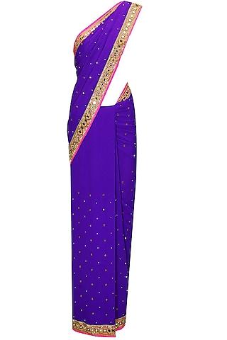 Indigo Salli and Mirror Work Sari with Bright Pink Embroidered Blouse by Arpita Mehta