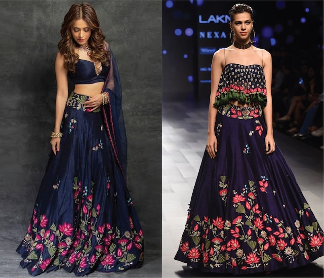Midnight Blue Lotus Embroidered Lehenga and Tasseled Blouse Set by Arpita Mehta