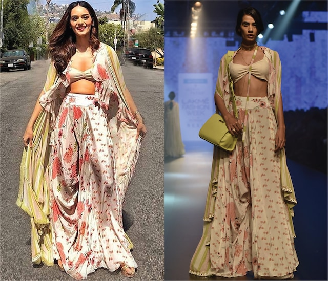 Cream Floral Printed Kite Pants and An Embroidered Cape and Bustier by Arpita Mehta