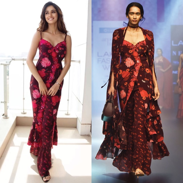Red and Black Floral Embroidered Wrapped Maxi Dress with A Pant and Cape by Arpita Mehta