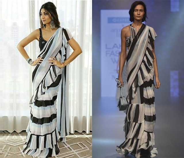Black and White Striped Ruffle Saree Set by Arpita Mehta