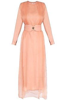 Coral Almond Pleated Dress by AQDUS