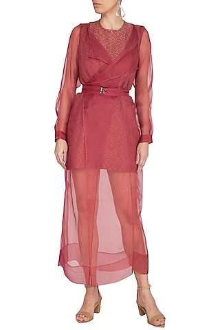 Marsala Long Jacket With Belt by AQDUS
