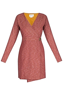 Marsala Embroidered Trench Coat With Waist Band by AQDUS