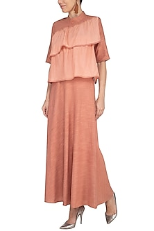 Peach Embroidered Flared Dress by AQDUS
