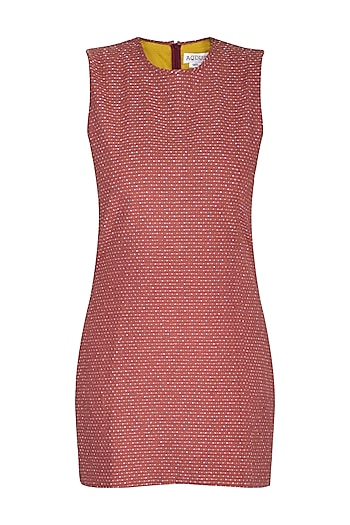 Marsala Embroidery Sleeveless Mini Dress by AQDUS