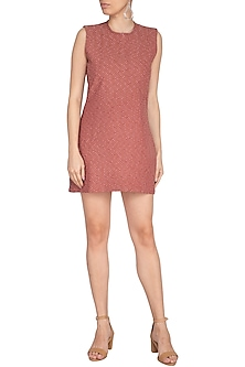 Marsala Embroidery Sleeveless Mini Dress by AQDUS