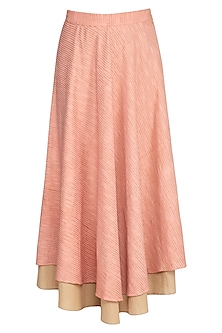 Coral Almond Embroidered Maxi Skirt by AQDUS