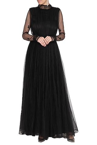 Black Embroidered Flared Dress With Half Jacket by AQDUS