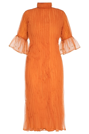 Orange Embroidered Pleated Midi Dress by AQDUS