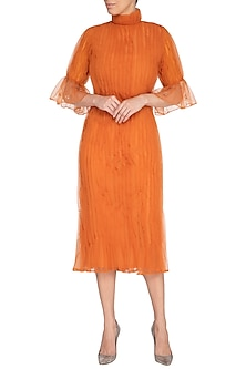 Orange Embroidered Pleated Midi Dress by AQDUS