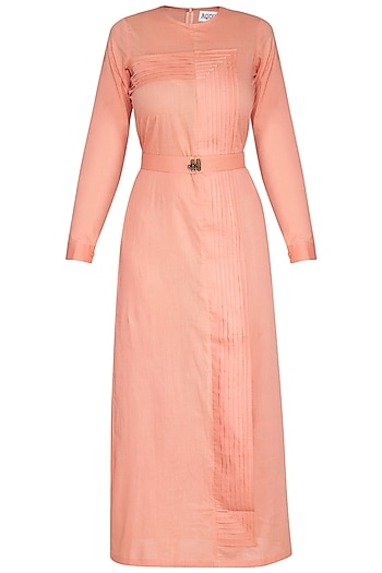 Coral Almond Cotton Pleated Dress by AQDUS