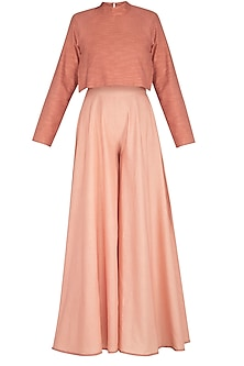 Coral Almond Flared Jumpsuit by AQDUS