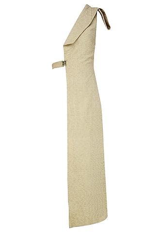 Sahara Beige Embroidered Linen Half Jacket by AQDUS
