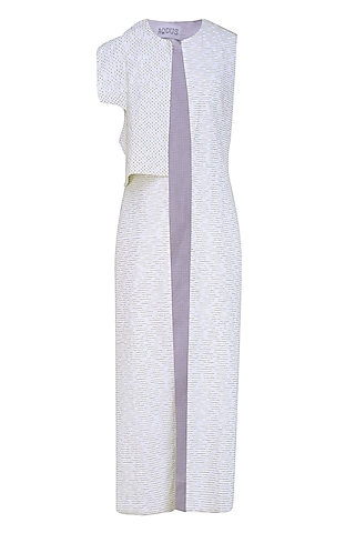 White Embroidered Linen Long Jacket by AQDUS