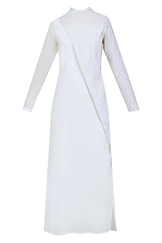 White Embroidered Side Slit Dress by AQDUS