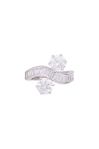 White Finish 925 Sterling Silver Swarovski Zircon Solitaire Ring by Tesoro by Bhavika